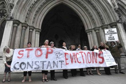 Dale Farm residents and supporters at High Court last September
